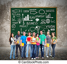 Students. - Group of students people team near infographic...