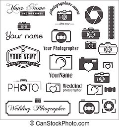Collection of vintage, retro and modern logo, icons and...