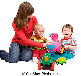 Playful family - Little girl and boy playing together with...