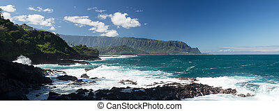 Waves hit rocks at Queens Bath Kauai - Panoramic view of...