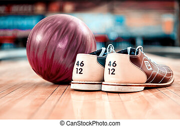 Leisure time in bowling club - Bowling equipment. Close up...