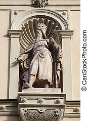 Statue of the Austrian monarchs on the portal of City Hall....