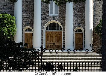 Entrance to Kawaiahao church - Stone steps and columns at...