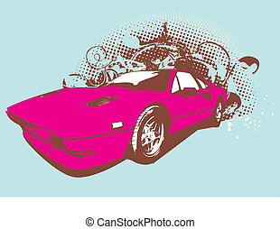 retro car - Vector Illustration of old vintage custom...