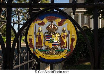 Painted seal at Kawaiahao church - Painted Hawaiian royal...