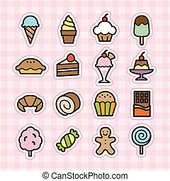 Sweets icons - illustration created by using Adobe...