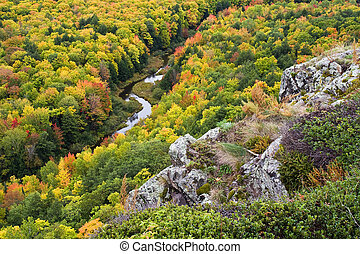 Autumn Color in Michigan Upper Peninsula Porcupine Mountains...