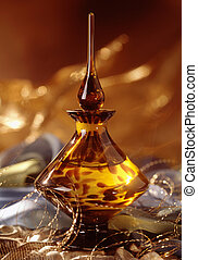 Perfume bottle - Ornate gold and yellow glass perfume bottle