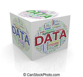 3d cube word tags wordcloud of data - 3d rendering of cube...