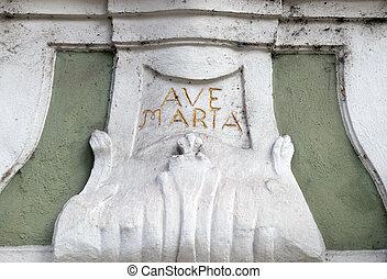 Ave Maria monogram on the house facade in Graz, Austria -...