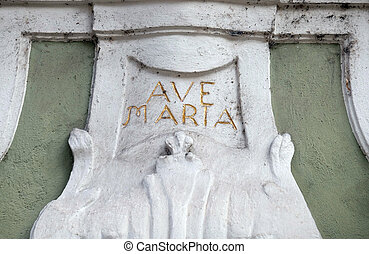 Ave Maria monogram on the house facade in Graz, Styria,...