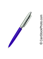 blue silver pen isolated on white