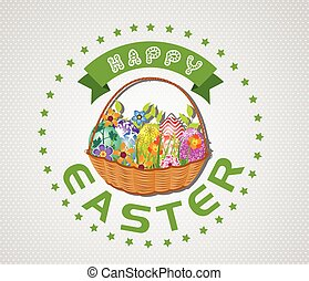 Easter card with eggs and basket - Easter card with eggs and...