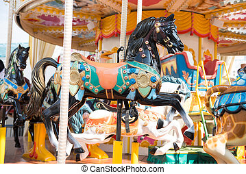 carousel in amusement park, fun park