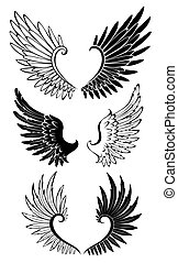 Set of Wings for Tattoo - Artistically painted black and...