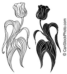 silhouette of two tulips