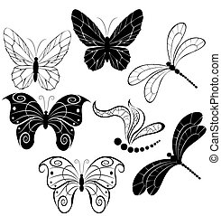 silhouettes of butterflies and dragonflies - black...