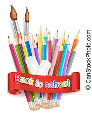 Back to school. Rainbow pencils and eraser isolated on the white background. Vector EPS10.