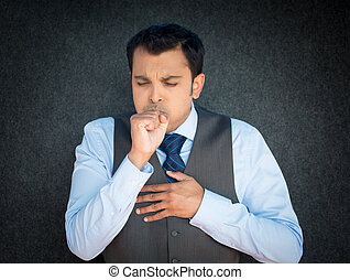 Coughing, sneezing sick man - Closeup portrait, sick mature...