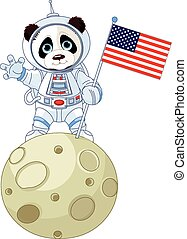 Panda Astronaut on the moon