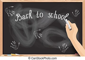 Hand writing at blackboard with chalk inscriptions Vector...