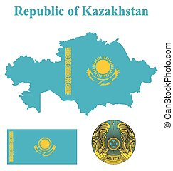 Kazakhstan Flag - Flag and national coat of arms of the...