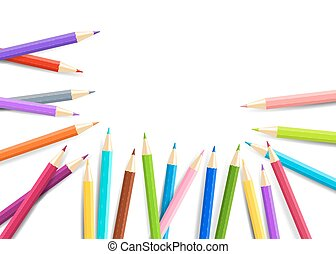 Rainbow  pencils isolated on white background. Vector EPS10.