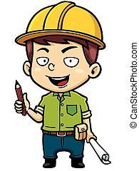 Architect - Vector illustration of Cartoon Male Architect...