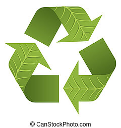 Leaf Recycle Logo - The iconic Recycle Logo with 3D leaf...