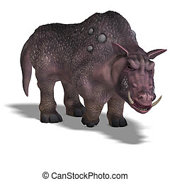 fantasy boar with huge tusks - 3D rendering of a fantasy...