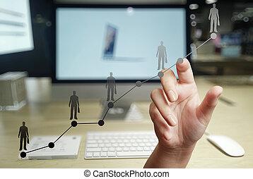 mano, trabajando, con, nuevo, moderno, computadora, y,...