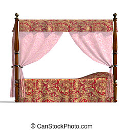 canopy bed of louis XV - 3D rendering of the canopy bed of...
