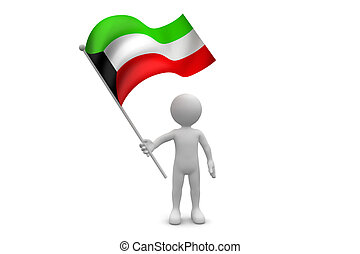 Kuwait Flag waving isolated on white background