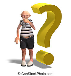 a funny senior with webpage elements - 3D rendering of a a...