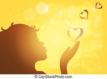 Silhouette of girl blowing dandelion in the rays of the sun. Vector EPS10.