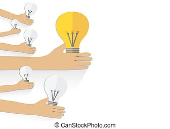 Teamwork management concept.  Hand keep bulb. Vector background.