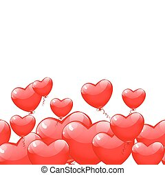 Red balloons in the shape of a heart isolated on white background. Happy Valentines day vector.
