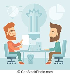 Business brainstorming - Two businessmen with beards...