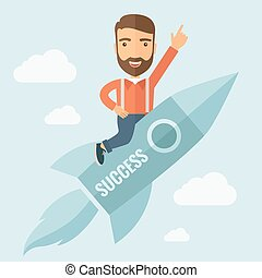 Successful Man Flying with a Rocket - The man with a beard...