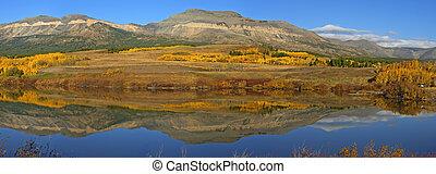 Montana Reflections - Beautiful Fall Foliage and Mountain...