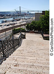 Cityscape view of April 25th bridge in Lisbon, Portugal -...