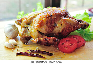 Roasted chicken and vegetables