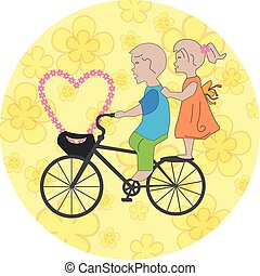 Children on the bicycle