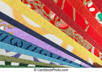 Abstract colorful origami paper pattern texture stacked...