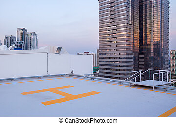 helipad for helicopter on roof top building for people...