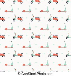 mopeds and scooters pattern - Seamless pattern with mopeds...
