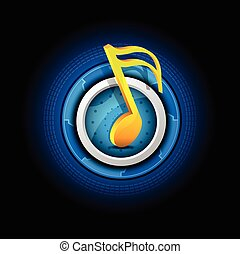 music symbol with button