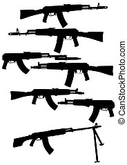 Automatic weapons - Modern automatic weapons on a white...