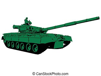 Tank - Big military tank on white background