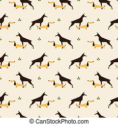 dachshund and doberman dog pattern - Seamless pattern with...